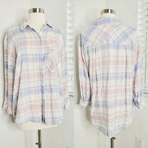 •BELLA DAHL• Pink/Blue Long Sleeve Plaid Shirt L.